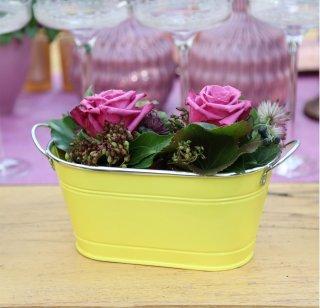 Home&Decorations Blumenkübel Pflanzkübel Pflanzentopf Blumentopf Metall Neonlook Deko Ovaler zweiseitiger Blumentopf zweiseitiger Blumentopf Gelb