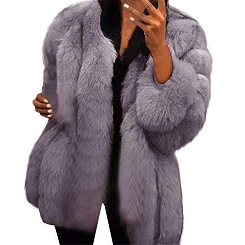 KPPONG Pullover Damen Langarm Pelzmantel Kunstpelz Plüschmantel Winterjacke Gefälschter Pelz Jacken Outwear Parka