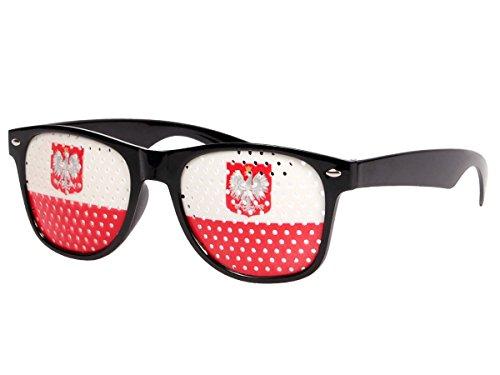 Alsino WM Fanbrille Fussball Brille Länderbrille Gitterbrille Deutschland, Portugal, Brasilien, Schweiz, England, Spanien, Italien, Frankreich, Russland, Kroatien, usa, (V-1164 Polen)