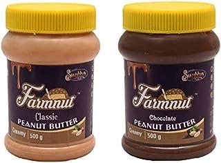 FARMNUT CLASSIC Creamy & CHOCOLATE Creamy PEANUT BUTTER -500 gm, Made with Roasted Peanuts, Zero Cholesterol & Transfat, H...