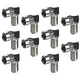 F型(ネジ式)L字接栓 アンテナケーブル L型変換プラグ(F型⇒F型 ネジ式) 10個入り/VM-4005-10P