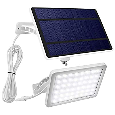 JACKYLED 48 LED Solar Wall Lights Outdoor White Solar Porch Lights with 5500mAh Battery Capacity Extra Long Working Time Solar Security Lights for Front Door Yard Porch Patio Pathway Garage