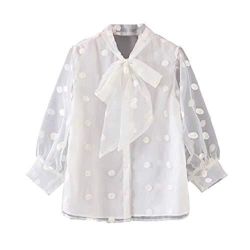 ZLYCP Damska elegancka kokarda kołnierz w groszki haftowana bluzka damska elegancka perspektywa biała koszulka koszulka rękawy topy