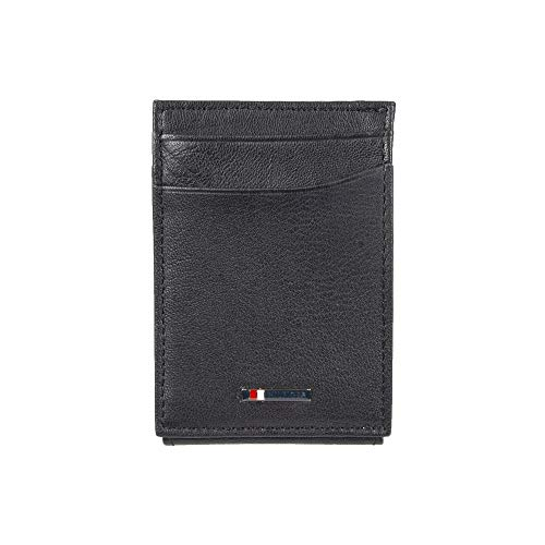 Tommy Hilfiger Men's Leather Slim Front Pocket Wallet, Black, One Size