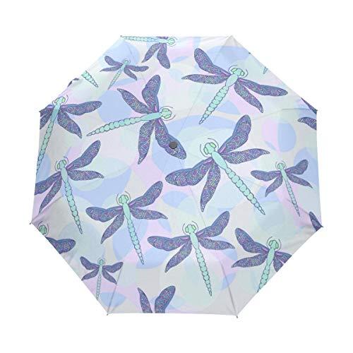 Kleiner Regenschirm Winddicht im Freien Regen Sonne UV Auto Compact 3-Fach Regenschirm Abdeckung - Moderne Vorlage Stoff Design Libellen Nahtlos