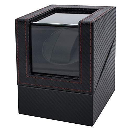 Feibrand Caja Relojes Automaticos Giratoria: Estuche para 1 Reloj Automático Enrollador Cajas Organizadora de Silencioso de Fibra Carbon Hombre - Watch Winder Box Funcionamiento de Batería o Adaptador