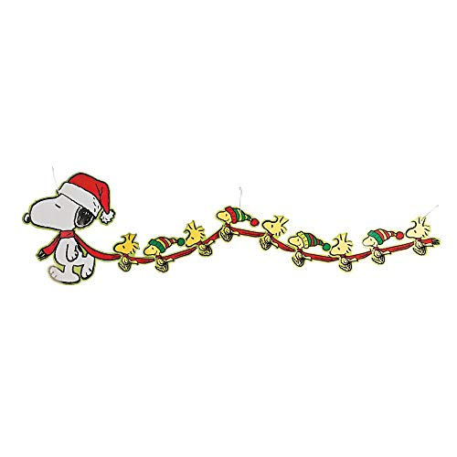 Peanuts Christmas Garland Large Snoopy and Woodstock Banner Party Decorations