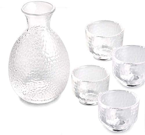ZHEYANG Sake Set Juego de Sake de 5 Piezas Juego de Sake de Estilo japonés Artesanía de Vidrio Sake Set Model:G07020