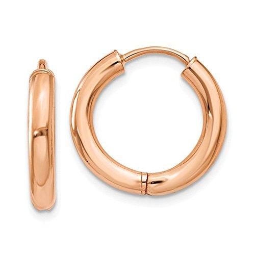 Small 14K Rose Gold Hinged Endless Huggie Hoop Earrings, .60 In (15mm) (2.5mm Tube)
