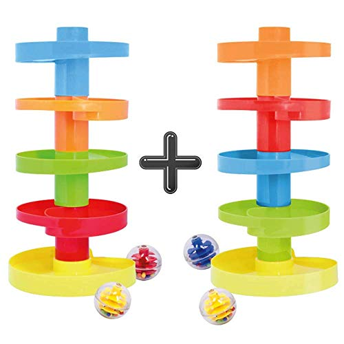 Product Image of the Educational Ball Drop Toy for Kids - Spinning Swirl Ball Ramp 2 Sets Activity...