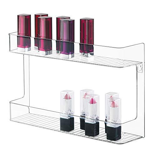 mDesign wandmontiertes Nagellackregal mit 2 Ebenen – stilvolle Kosmetikablage für das Badezimmer – praktische Medikamentenaufbewahrung – durchsichtig