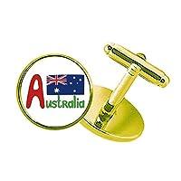 オーストラリアの国旗の赤と青のパターン スタッズビジネスシャツメタルカフリンクスゴールド