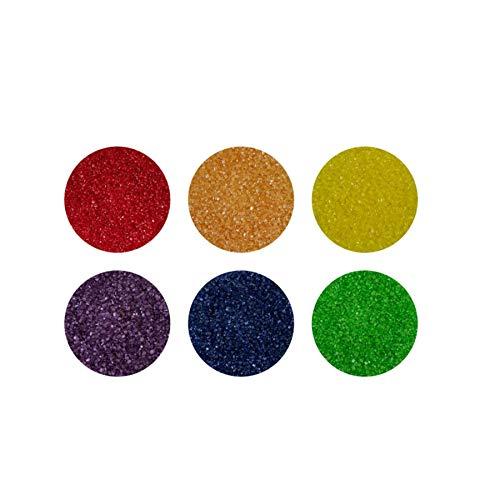 yagma Glimmerzucker Set - Regenbogenmix - 240 g - (rot, orange, gelb, grün, blau, violett) - Dekorzucker, Streuzucker