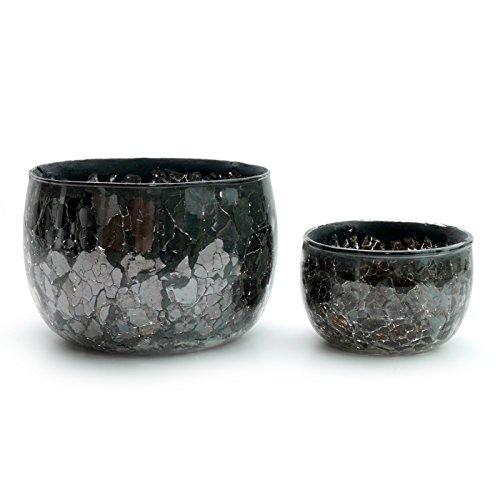 Unbekannt Teelichthalter Bowl Crash Glas schwarz | Zwei Tischlichter im Set | Bell Arte