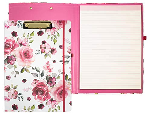 Cute Clipboard Folio with Refillable Lined Notepad and Interior Storage Pocket for Women, Stylish Pink Floral Clipfolio, Rose Floral