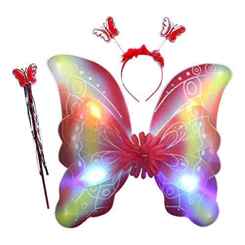 Xiuinserty - Juego de 3 piezas de disfraz de hadas para nios y nias, con alas de mariposa