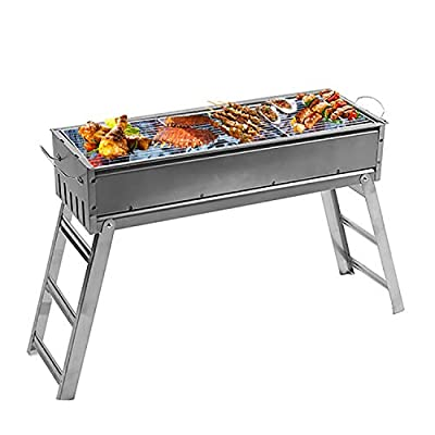 XDerlin Stainless steel folding barbecue portable lightweight simple- Charcoal Grill Barbecue Portable, foldable-for camping, outdoor picnic