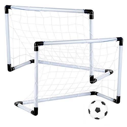 Kinder Fussballtor KP8547 Fußballtor Set für Kinder 2er Garten Fußballtor Football Tor Set mit Ball und Pumpe Drinnen/Draußen Spielzeug-Set für Kinder Tor mobil