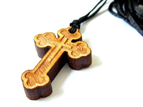 IconsGr Christlich-orthodoxe religiöse Halskette mit Holzkreuz, 59