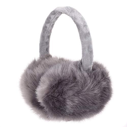 Sudawave Damen Mädchen Winter einstellbare Ohrenschützer Mode einzigartiges Design herzförmige (Grau)