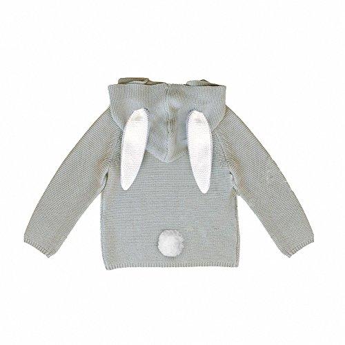 belababy Baby Hoodies Cute Rabbit Ears Toddler Knitting Sweater, Grey, 18-24 Months