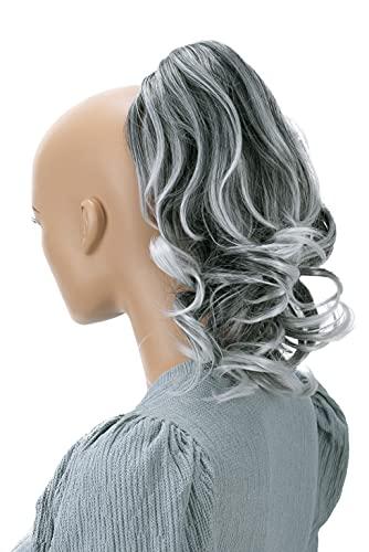 PRETTYSHOP 30cm Postiche Natte Queue De Cheval Extensions De Cheveux Volumineux Ondulé Mélange Gris H126