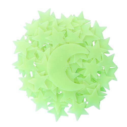 VORCOOL Luna Stelle Fluorescenti Luminose Soffitto Stickers Murali da Parete Giallo Chiaro 101 Pezzi (Giallo)