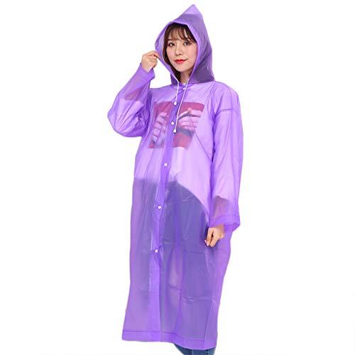 Mikiya Unisex Adult PEVA wasserdichte Regen-Poncho-Mantel-Transparent Helle Solid Color Camping verdickte Wiederverwendbare Kordelzug Hoodie Regenkleidung Anzug
