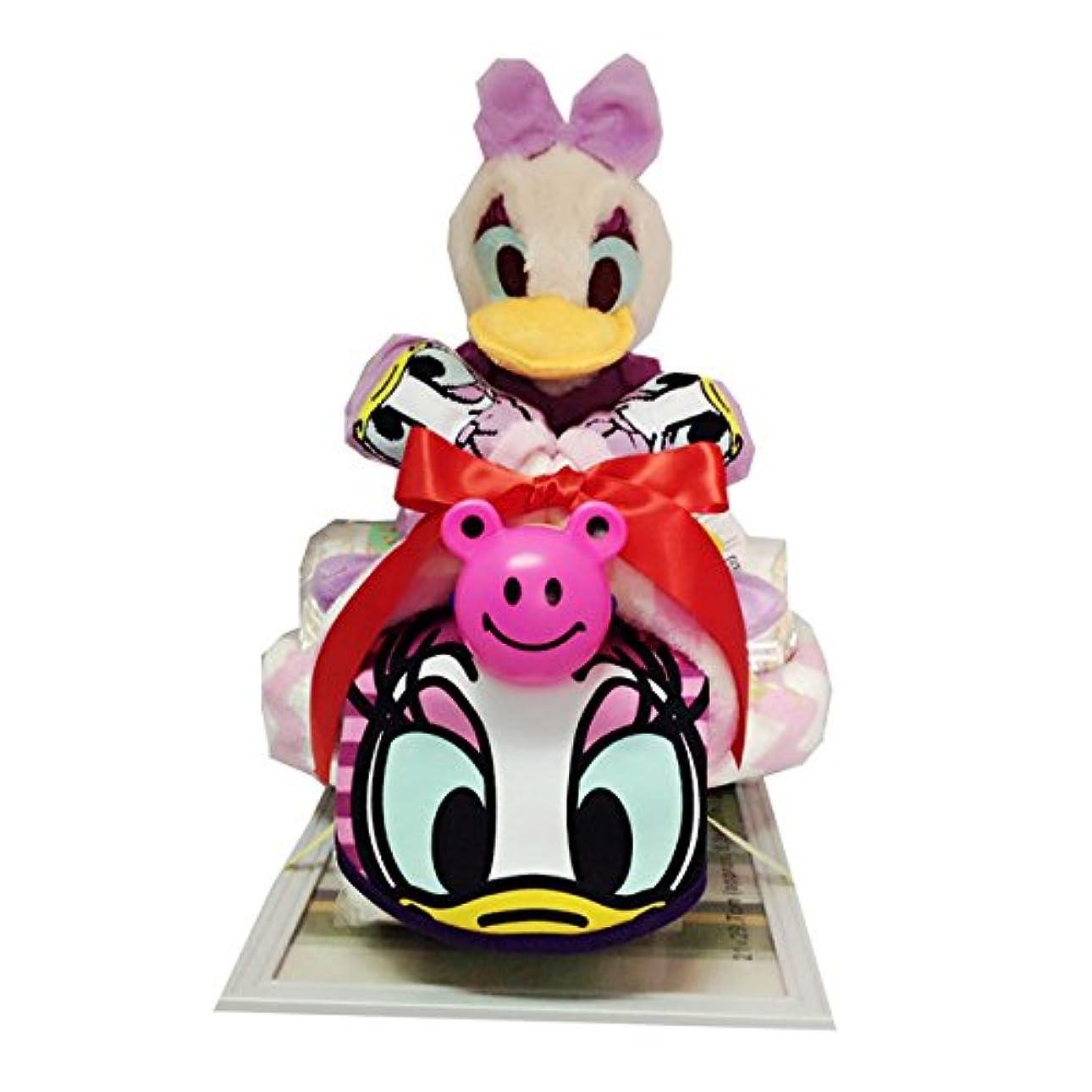 有用レイア苦難おむつケーキ おむつバイク ディズニー デイジー 出産祝い 誕生日 プレゼント(パンパーステープタイプMサイズ)