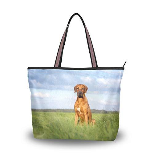 Hengpai Große Handtasche mit Reißverschluss, Motiv: Australischer Rinderhund, Blumenmuster, Blau, Mehrere (Multi22), Medium