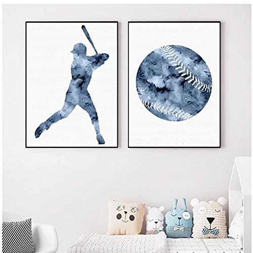 BINGJIACAI Deportes béisbol póster impresiones acuarela lienzo pintura béisbol pared arte imagen impresión moderna habitación de niños decoración del hogar-40x50cmx2 sin marco