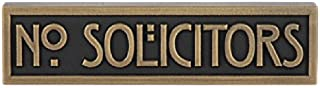 Mini Stickley Font No Solicitors Plaque 8x2 - Raised Brass Metal Coated Sign