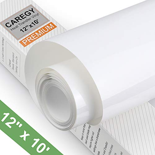 Heat Transfer Vinyl Roll 12 Inch by 10 Ft Iron On HTV for T-Shirts,White