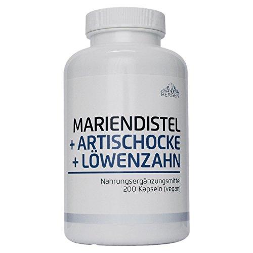 Bergen Mariendistel Artischocke Löwenzahn - Komplex Hochdosiert mit 80{f77448c064b1ca6058fceea254c5dac10f95390e4c28e53393695cf8112d9bbd} Silymarin. 200 Vegane Kapseln ohne Zusatzstoffe