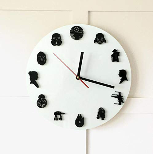 zxcc Wall Clock, Star Wars Icon Creative Wall Clock, Suitable for Living Room Home Decoration Wall Quartz Clocks, 12 Retro Avatars