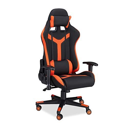 Relaxdays Gaming Stuhl XR10, Schreibtischstuhl f. Gamer, Professionell PC Gaming Chair, 120 kg belastbar, schwarz-orange