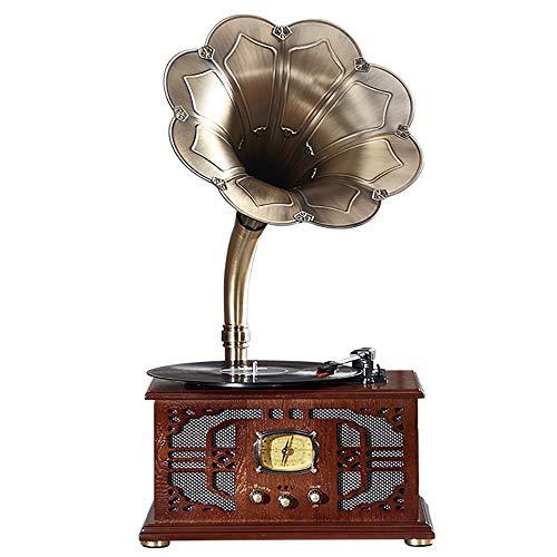 ZTBXQ Wohnaccessoires für Wohnzimmer Dekorationszubehör GeschenkeAufnahmespieler für Vinyl, Grammophon Acht Blütenblätter Reines Kupferhorn Retro und Großzügiges Multifunktions-Wiedergabefeld Ret