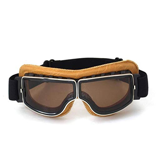 fish Retro Moto Gafas Gafas Aviator Cruiser Vintage Gafas de Cuero Cafe Racer Half Helmet Gafas, 2
