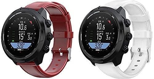 Classicase compatível com Suunto 9/7 / D5i / TRAVERSE/Spartan Sport Wrist HR Baro Pulseira de Relógio, Pulseira de Couro Superior Para Substituição (Pattern 2+Pattern 6)
