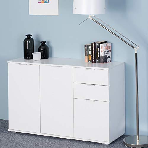 Deuba Cómoda Alba Blanco de 3 Puertas y cajones - archivador y Mueble de organización para Oficina, salón, Dormitorio