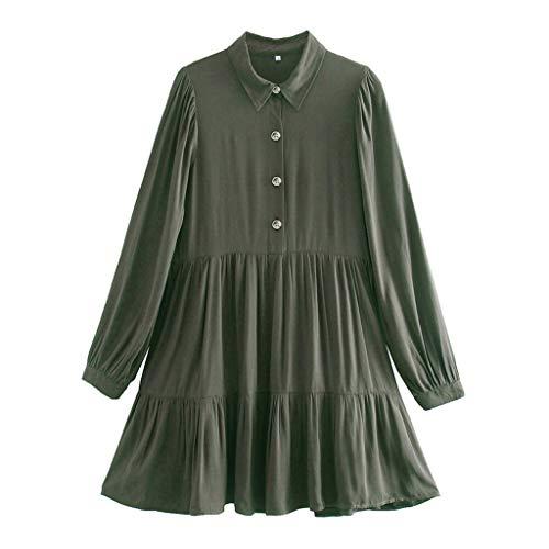 Diaod Vestidos de algodón Cuello para Mujer Solo Pecho Suelto Ropa Corta Primavera Verano Nuevo (Size : S Code)