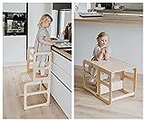 Torre de Aprendizaje Montessori - Torres Ajustables para Encimeras y Mesa - Plataforma de Madera para Trepar en la Cocina para Bebés y Niños, Kitchen Tower - Kitchen Helper (Lacado)