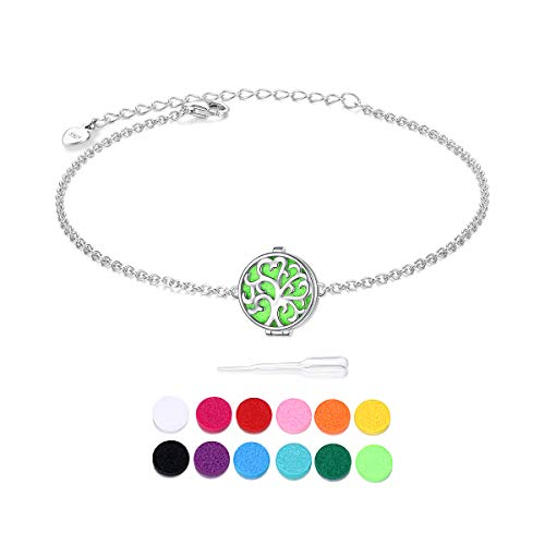 S925 Sterling Silver Aromatherapy Essential Oil Diffuser Four Leaf Clover Engraved Always in my heart Locket Perfume Bracelet Link Jewelry 7+2'Adjustable Chain