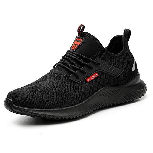 YISIQ Zapatos de Seguridad para Hombre Mujer Transpirable Ligeras con Puntera de Acero Trabajo Calzado de Zapatos de Industrial y Deportiva Unisex, 01 Negro, 42 EU