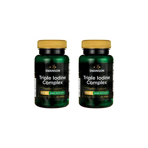 Swanson Triple Iodine Complex - High Potency 12.5 mg 60 Veg Caps 2 Pack