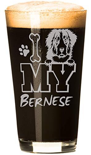 I Love My Bernese Mountain Dog 16 oz Beer Pint Glass (4 Glasses)