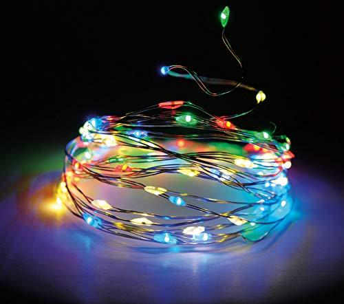Draht Lichterkette 40 LED mit Timer und 8 Funktionen 195 cm - bunt/multi - Innen und Außen Draht Lichterkette mit Batterie betrieb