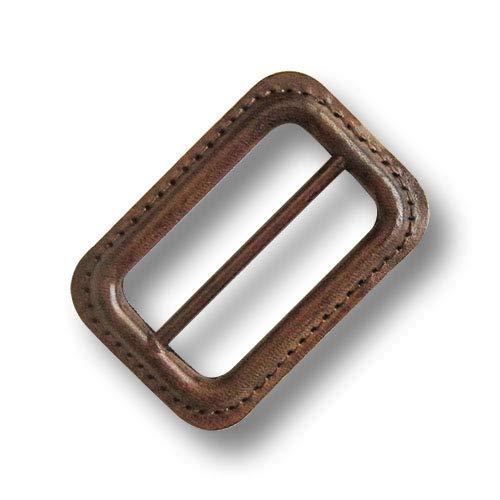 Knopfparadies - 2 Zeitlose, mittelbraune Gürtelschnallen/Lederschnallen mit Metallsteg. Perfekt für Trenchcoats. Ca. 37x55mm!