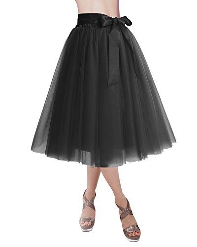 DRESSTELLS Knee Length Tulle Skirt Tutu Skirt Evening Party Gown Prom Formal Skirts Black S-M