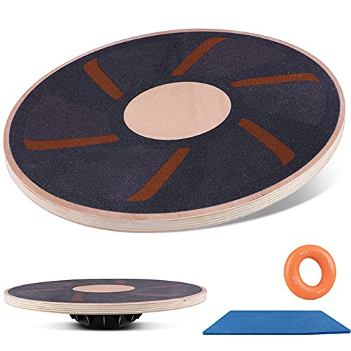 Wooden Wobble Balance Board, Oval Balance Board Training with TPE Non-Slip Mat, Exercise Board for Physical Therapy, Home Gyms-Send 1 Grip Ring